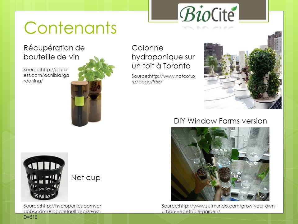 Fertilisants Spécifique à lhydroponie – ne pas prendre des fertilisants pour culture en terre Généralement pour une eau douce Élément pure (non organique) ou plus récemment à base dalgues Phases: 1, 2 ou 3 phases Végétative, Floraison, Fruit Garder la solution entre 20C et 24C N-P-K (%) N: Nitrogen (Azote) P: Phosphorus (Phosphore) K: Potassium Source: http://www.jasons-indoor-guide-to-organic-and- hydroponics-gardening.com/hydroponic-nutrients.html