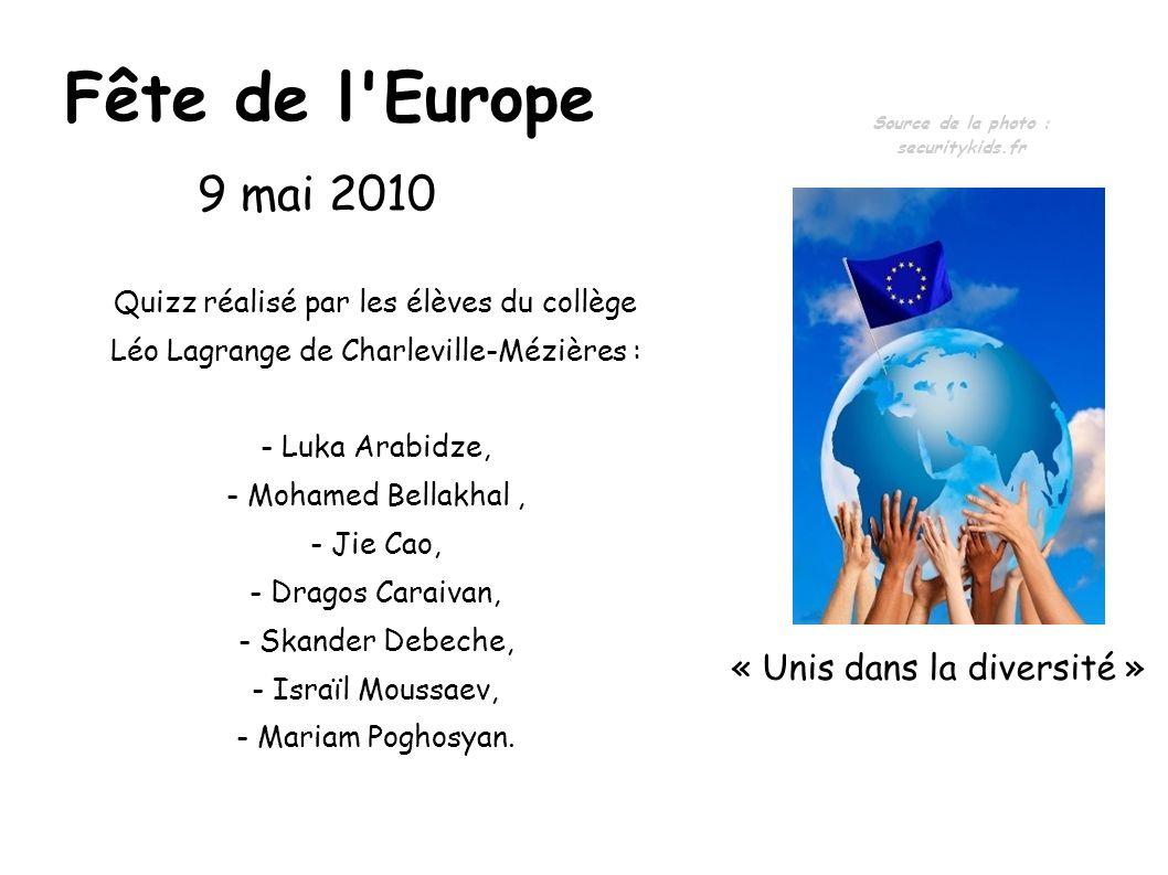 Fête de l'Europe Quizz réalisé par les élèves du collège Léo Lagrange de Charleville-Mézières : - Luka Arabidze, - Mohamed Bellakhal, - Jie Cao, - Dra