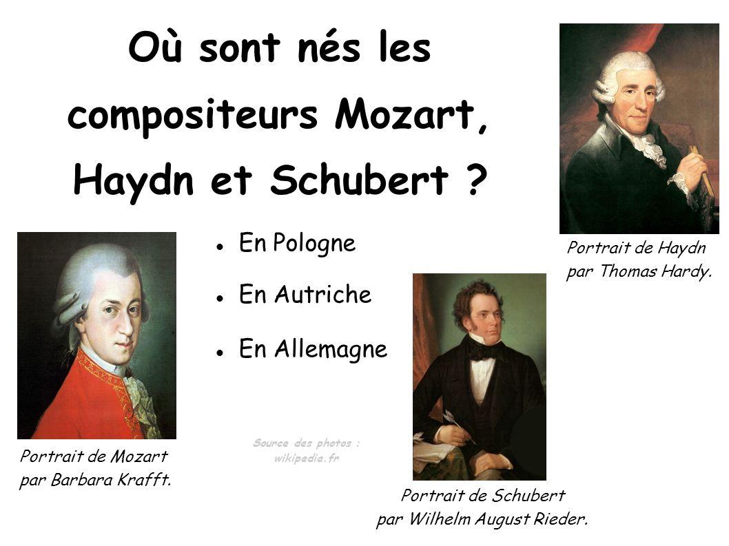 En Pologne En Autriche En Allemagne Où sont nés les compositeurs Mozart, Haydn et Schubert ? Portrait de Mozart par Barbara Krafft. Portrait de Haydn