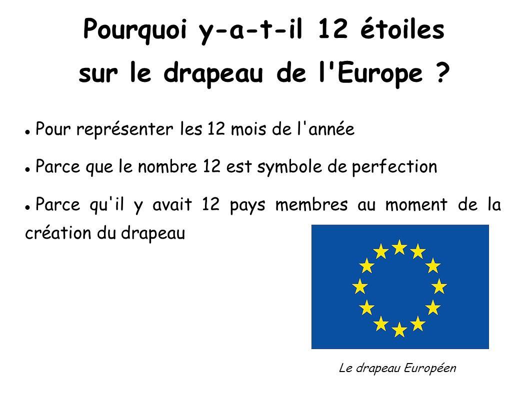 Pourquoi y-a-t-il 12 étoiles sur le drapeau de l'Europe ? Pour représenter les 12 mois de l'année Parce que le nombre 12 est symbole de perfection Par