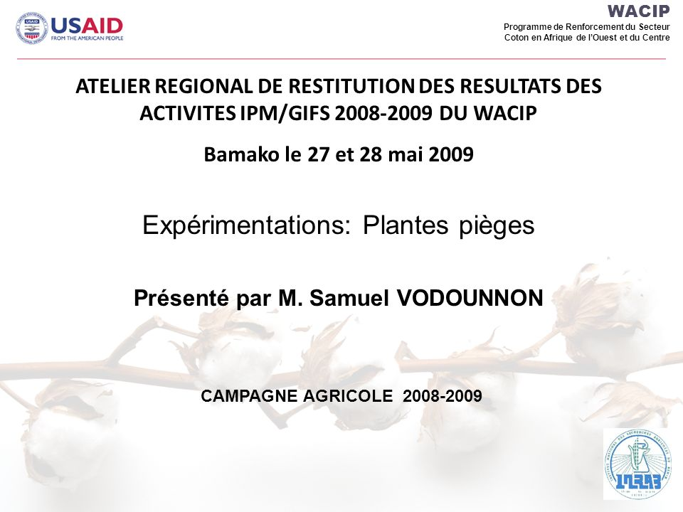 WACIP Programme de Renforcement du Secteur Coton en Afrique de lOuest et du Centre ATELIER REGIONAL DE RESTITUTION DES RESULTATS DES ACTIVITES IPM/GIFS 2008-2009 DU WACIP Bamako le 27 et 28 mai 2009 Expérimentations: Plantes pièges Présenté par M.