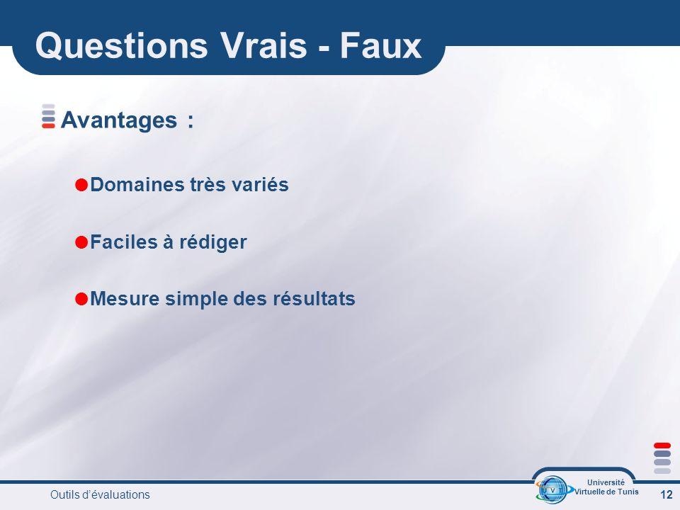 Université Virtuelle de Tunis Outils dévaluations 12 Questions Vrais - Faux Avantages : Domaines très variés Faciles à rédiger Mesure simple des résultats