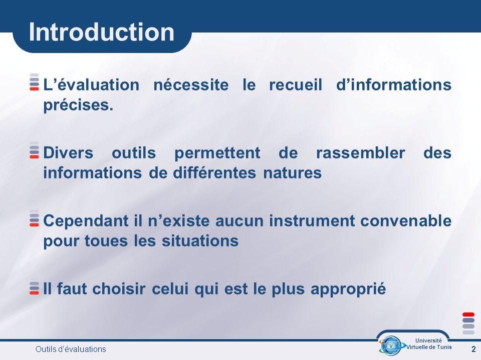 Université Virtuelle de Tunis Outils dévaluations 2 Introduction Lévaluation nécessite le recueil dinformations précises.