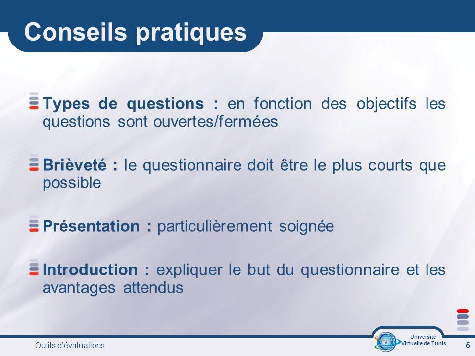 Université Virtuelle de Tunis Outils dévaluations 16 Les QCM QCM avec schémas Parmis les schémas suivants lequel représente le mieux le mécanisme de la vision?