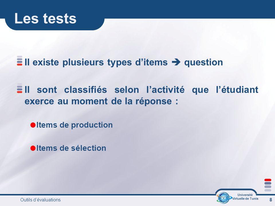 Université Virtuelle de Tunis Outils dévaluations 9 Items de production A réponse courtes : La question classique Exemple : lair est constitué par un mélange de gaz indiquez les deux gaz les plus abondants dans le mélange.
