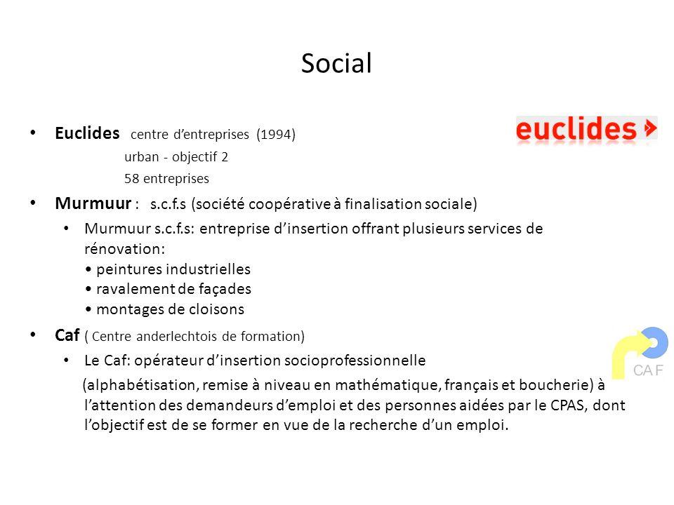 Social Euclides centre dentreprises (1994) urban - objectif 2 58 entreprises Murmuur : s.c.f.s (société coopérative à finalisation sociale) Murmuur s.