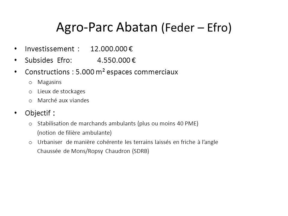Agro-Parc Abatan (Feder – Efro) Investissement : 12.000.000 Subsides Efro: 4.550.000 Constructions : 5.000 m² espaces commerciaux o Magasins o Lieux d