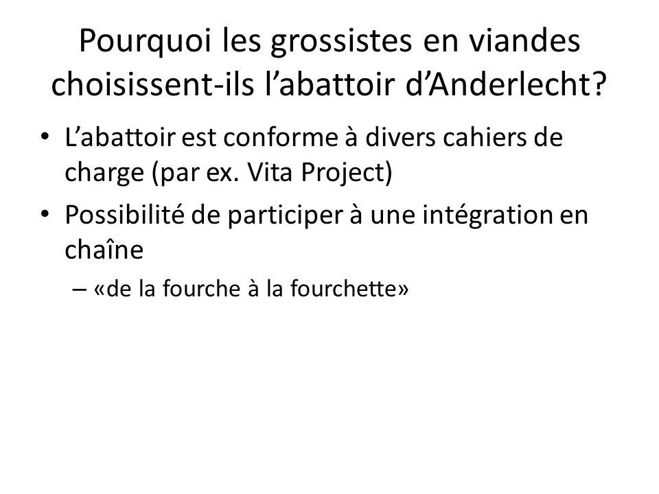 Labattoir est conforme à divers cahiers de charge (par ex. Vita Project) Possibilité de participer à une intégration en chaîne – «de la fourche à la f