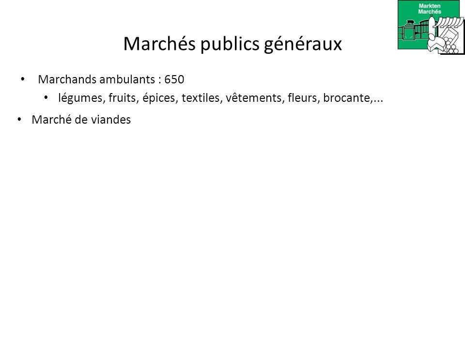 Marchés publics généraux Visiteurs par jour: vendredi. 16.000 samedi. 29.000 dimanche. 60.000