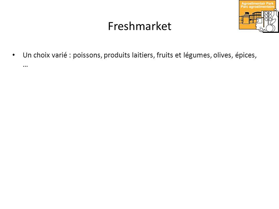 Un choix varié : poissons, produits laitiers, fruits et légumes, olives, épices, …