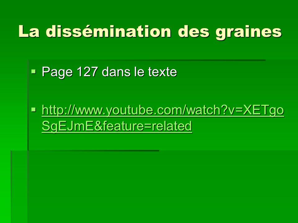 La dissémination des graines Page 127 dans le texte Page 127 dans le texte http://www.youtube.com/watch?v=XETgo SgEJmE&feature=related http://www.yout