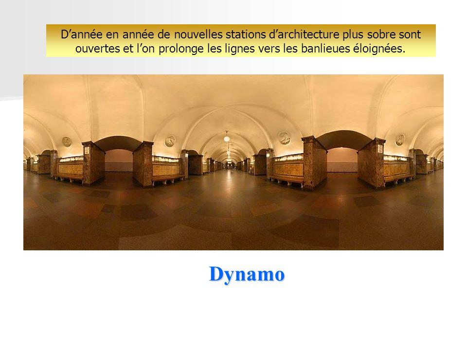 Dynamo Dannée en année de nouvelles stations darchitecture plus sobre sont ouvertes et lon prolonge les lignes vers les banlieues éloignées.