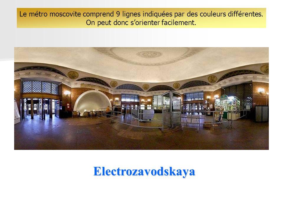 Electrozavodskaya Le métro moscovite comprend 9 lignes indiquées par des couleurs différentes.