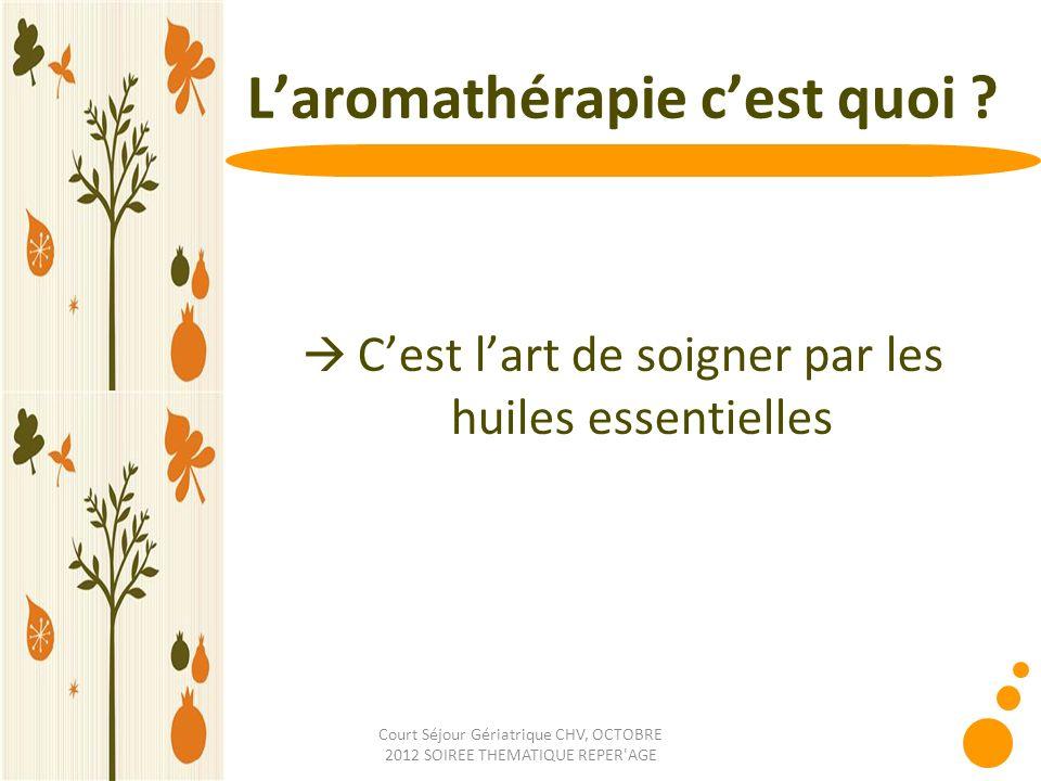 Court Séjour Gériatrique CHV, OCTOBRE 2012 SOIREE THEMATIQUE REPER'AGE Laromathérapie cest quoi ? Cest lart de soigner par les huiles essentielles