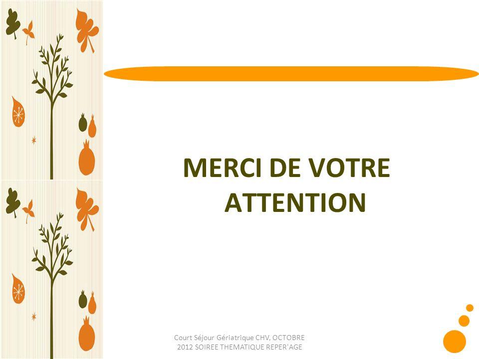Court Séjour Gériatrique CHV, OCTOBRE 2012 SOIREE THEMATIQUE REPER'AGE MERCI DE VOTRE ATTENTION