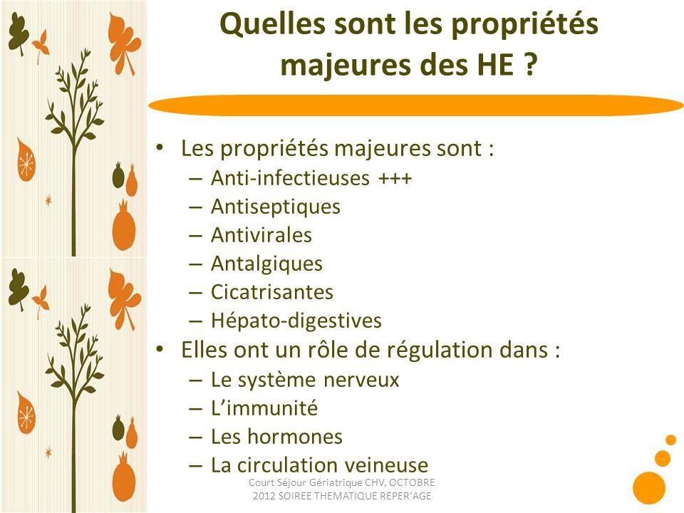 Court Séjour Gériatrique CHV, OCTOBRE 2012 SOIREE THEMATIQUE REPER'AGE Quelles sont les propriétés majeures des HE ? Les propriétés majeures sont : –