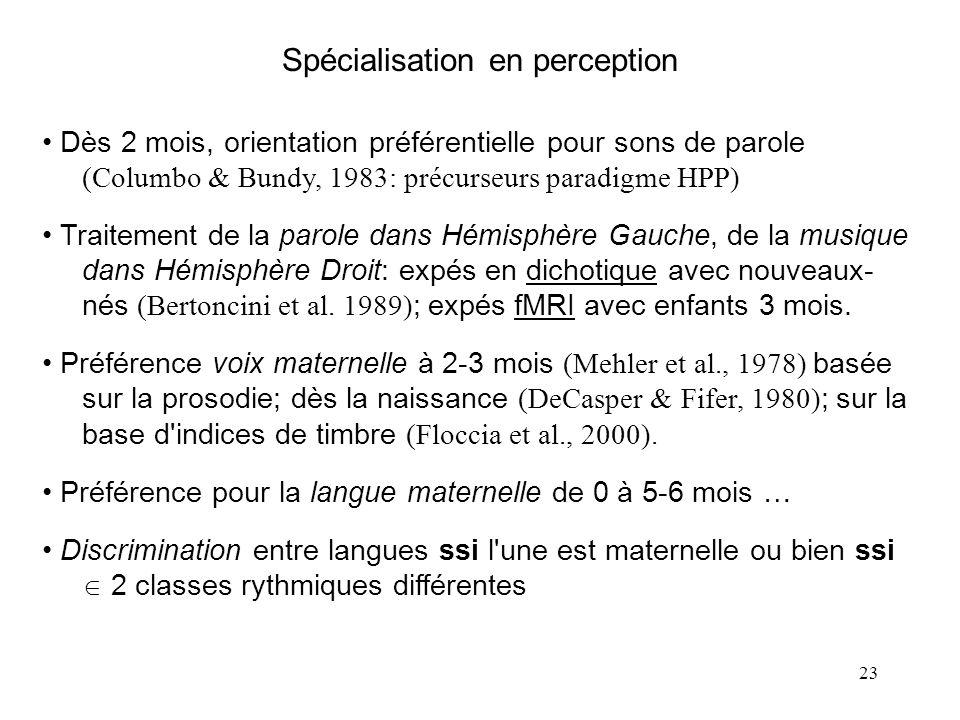 22 Conclusion sur les productions précoces Convergence nette vers la langue maternelle dès 10 mois Aspects les plus saillants : - D'abord des aspects
