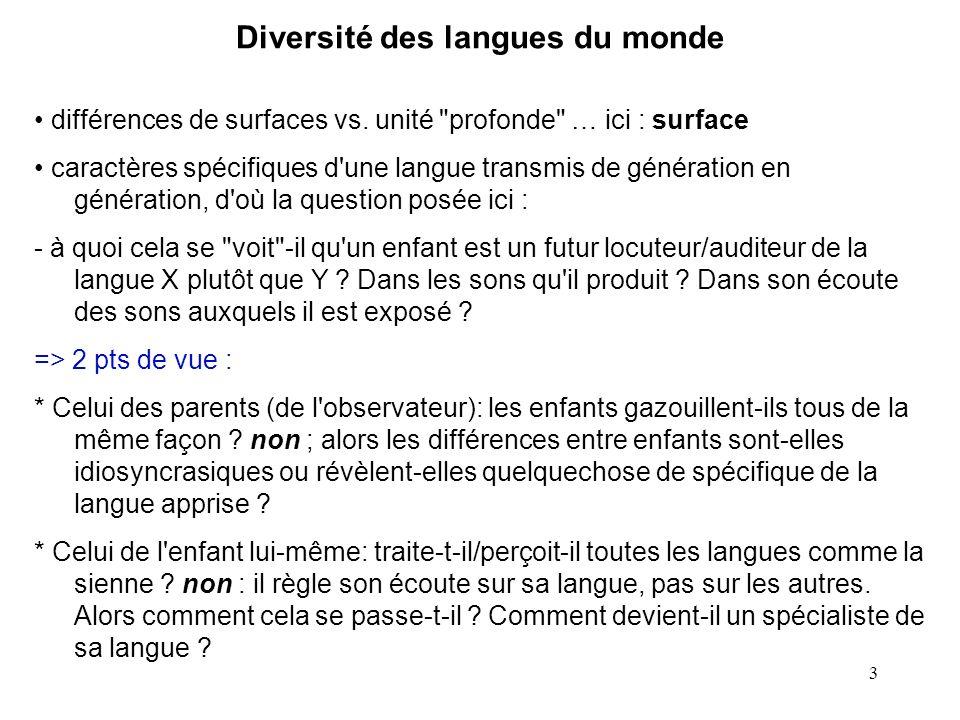 2 diversité des langues … spécificités d une langue, acquisition d une langue … de ses spécificités … spécialisation ?