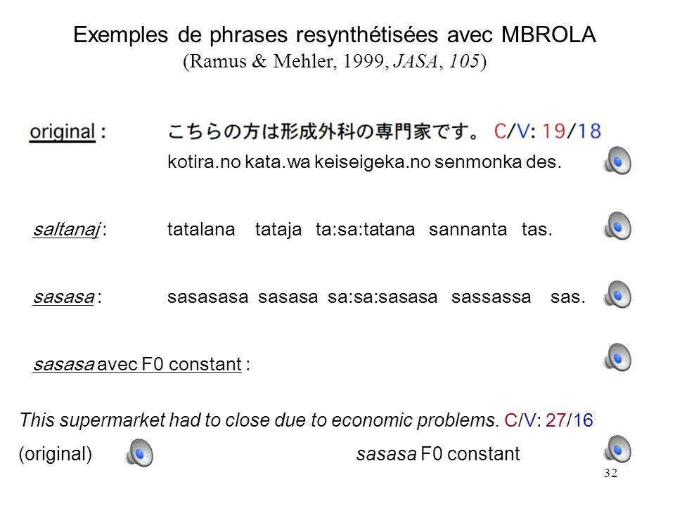 31 Parenthèse : intonation, rythme, et aspects segmentaux sont interdépendants consonne(s)voyellecons.voy.cons.voy. Le rythme est –en particulier– don