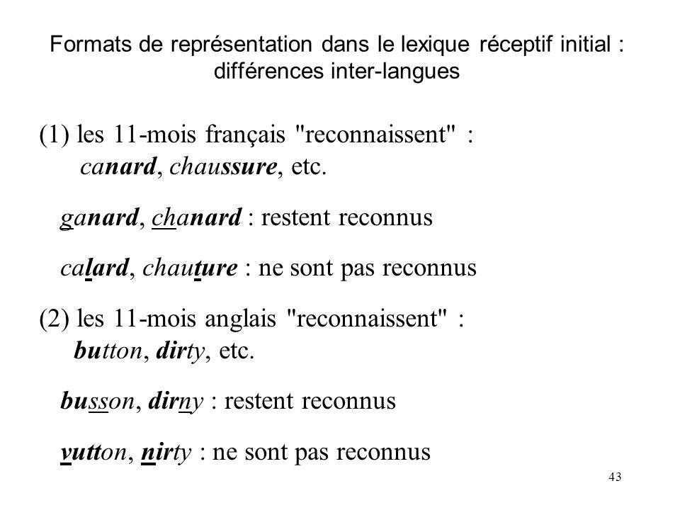 42 mots familiers vs. rares (enfants anglais) : reconnaissance indexée par durées d'orientation