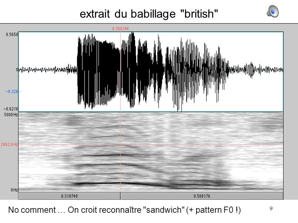 9 extrait du babillage british No comment … On croit reconnaître sandwich (+ pattern F0 !)