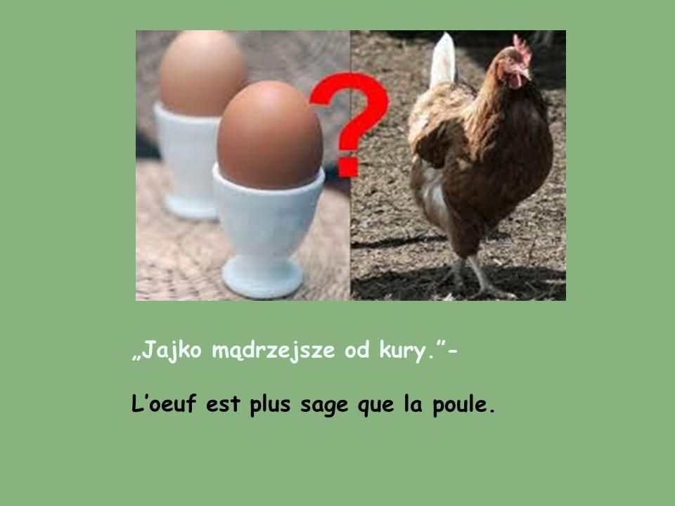 Jajko mądrzejsze od kury.- Loeuf est plus sage que la poule.