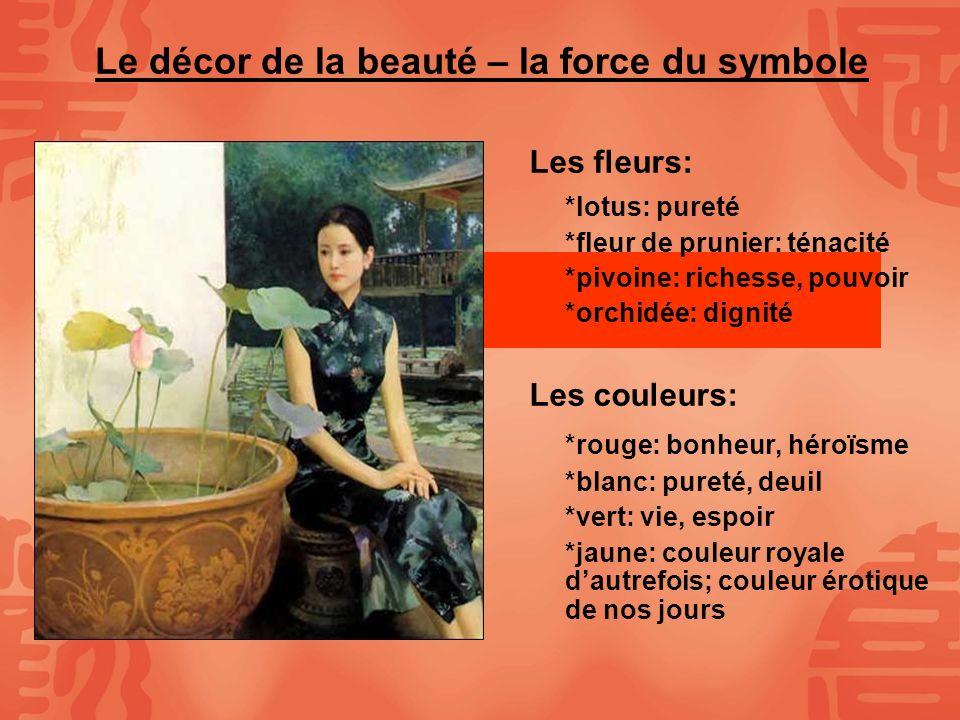 Le décor de la beauté – la force du symbole Les fleurs: *lotus: pureté *fleur de prunier: ténacité *pivoine: richesse, pouvoir *orchidée: dignité Les