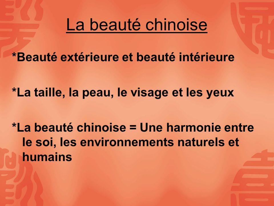 La beauté chinoise *Beauté extérieure et beauté intérieure *La taille, la peau, le visage et les yeux *La beauté chinoise = Une harmonie entre le soi,