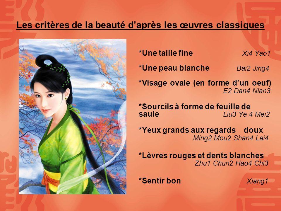 Les critères de la beauté daprès les œuvres classiques *Une taille fine Xi4 Yao1 *Une peau blanche Bai2 Jing4 *Visage ovale (en forme dun oeuf) E2 Dan