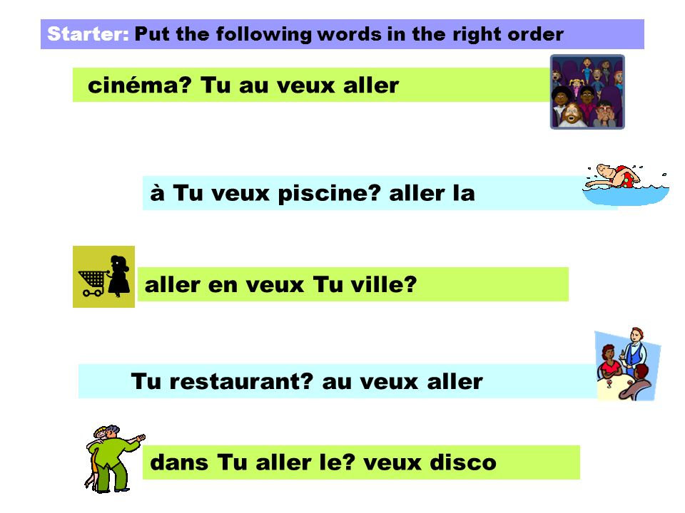 Starter: Put the following words in the right order cinéma.