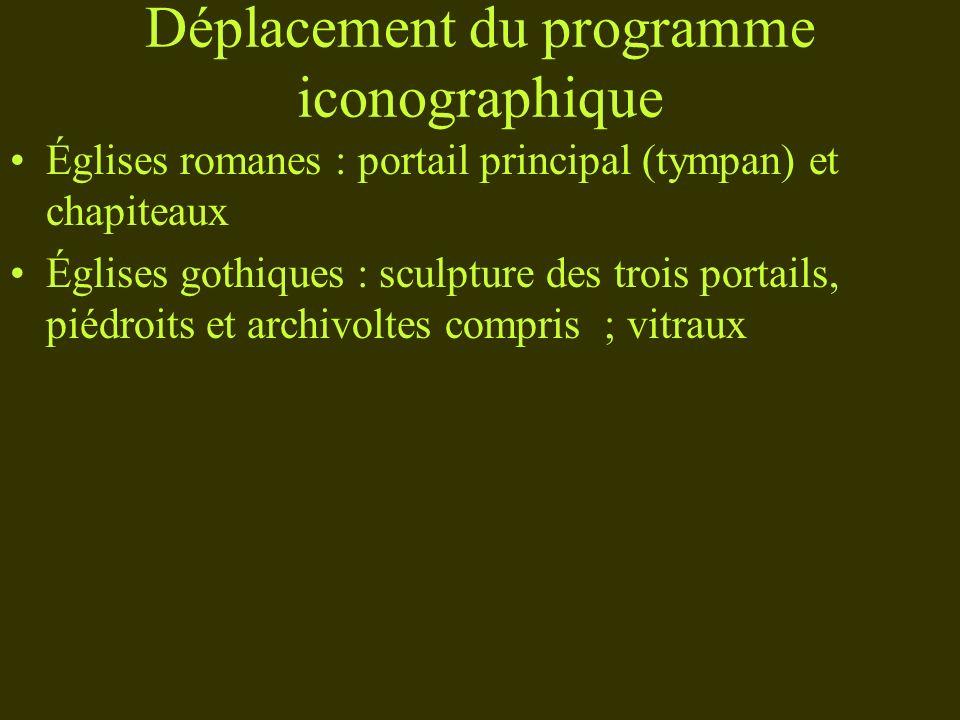 Déplacement du programme iconographique Églises romanes : portail principal (tympan) et chapiteaux Églises gothiques : sculpture des trois portails, p