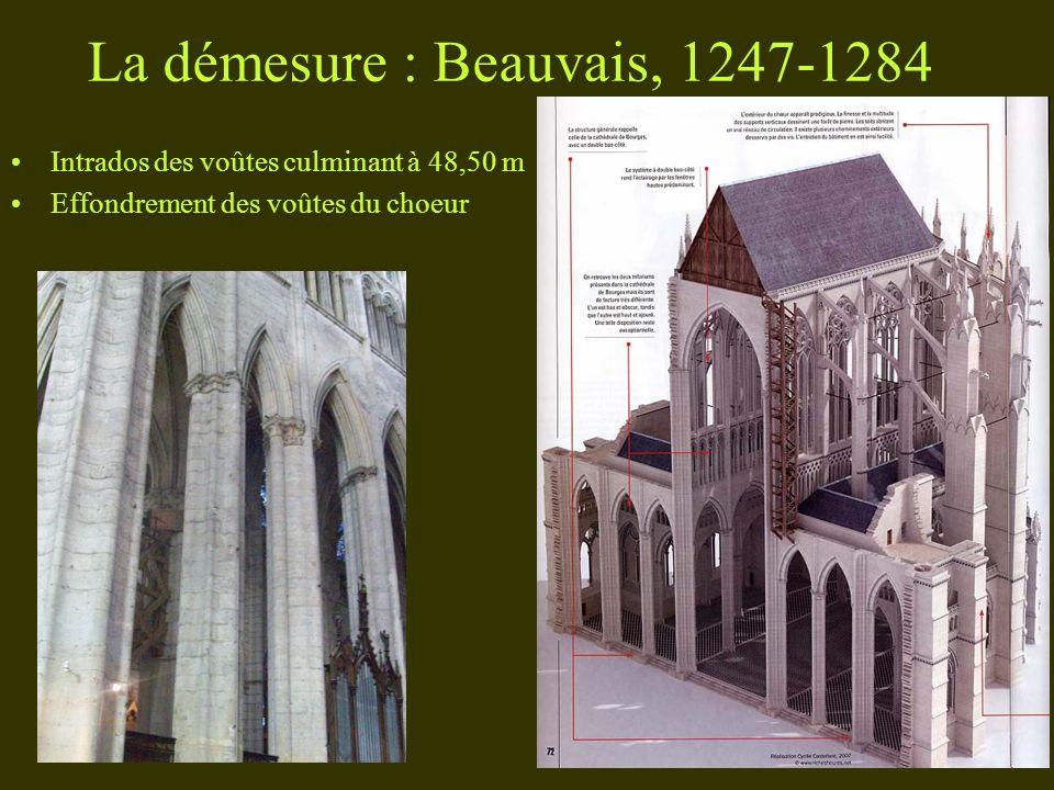 La démesure : Beauvais, 1247-1284 Intrados des voûtes culminant à 48,50 m Effondrement des voûtes du choeur
