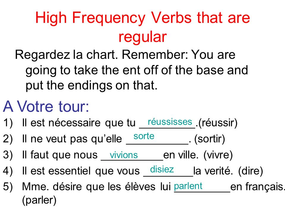 High Frequency Verbs that are regular Regardez la chart. Remember: You are going to take the ent off of the base and put the endings on that. A Votre