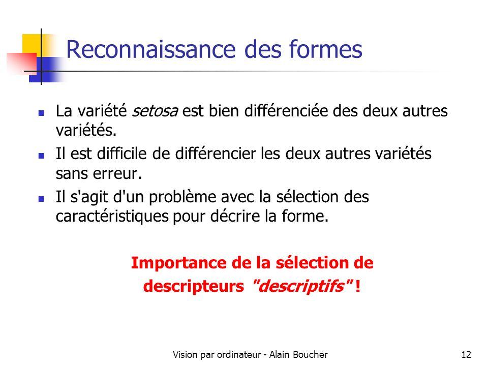 Vision par ordinateur - Alain Boucher12 Reconnaissance des formes La variété setosa est bien différenciée des deux autres variétés. Il est difficile d