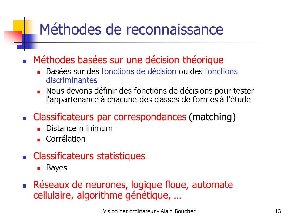 Vision par ordinateur - Alain Boucher13 Méthodes de reconnaissance Méthodes basées sur une décision théorique Basées sur des fonctions de décision ou