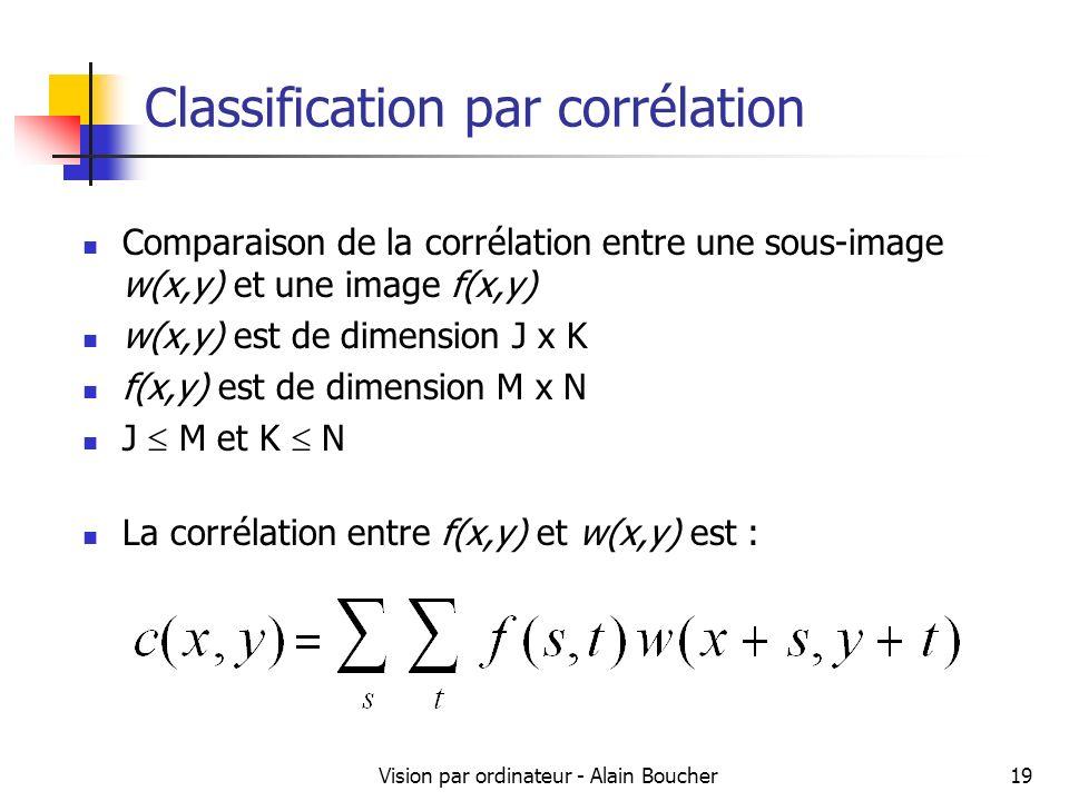 Vision par ordinateur - Alain Boucher19 Classification par corrélation Comparaison de la corrélation entre une sous-image w(x,y) et une image f(x,y) w