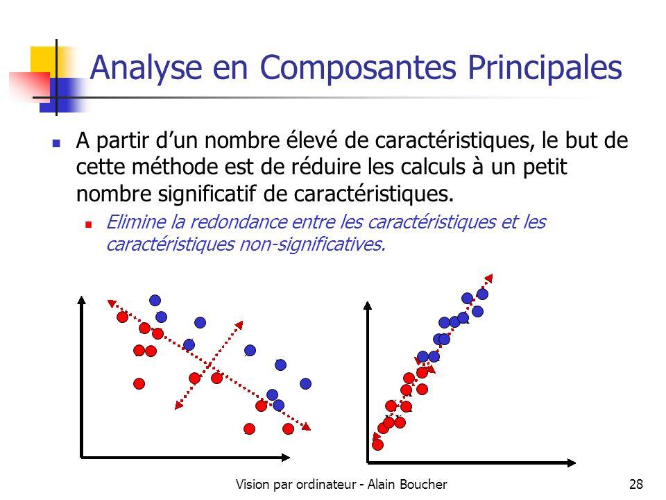 Vision par ordinateur - Alain Boucher28 Analyse en Composantes Principales A partir dun nombre élevé de caractéristiques, le but de cette méthode est
