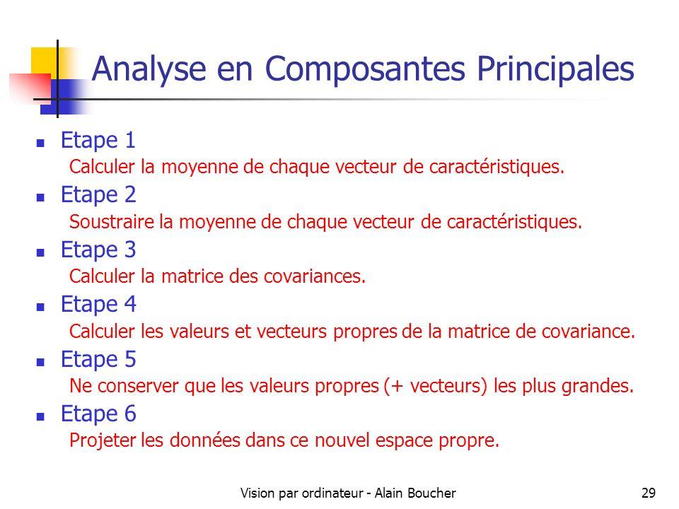 Vision par ordinateur - Alain Boucher29 Analyse en Composantes Principales Etape 1 Calculer la moyenne de chaque vecteur de caractéristiques. Etape 2