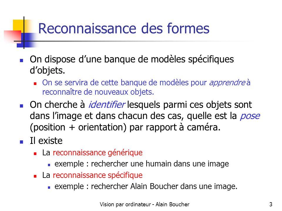 Vision par ordinateur - Alain Boucher14 Classification par distance minimale Calcul de la distance entre le vecteur de forme de l objet inconnu et le vecteur de forme de l objet de référence.