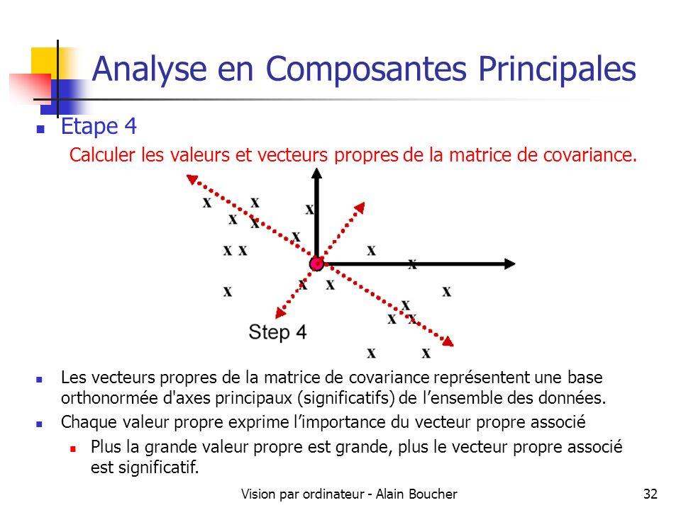 Vision par ordinateur - Alain Boucher32 Analyse en Composantes Principales Etape 4 Calculer les valeurs et vecteurs propres de la matrice de covarianc