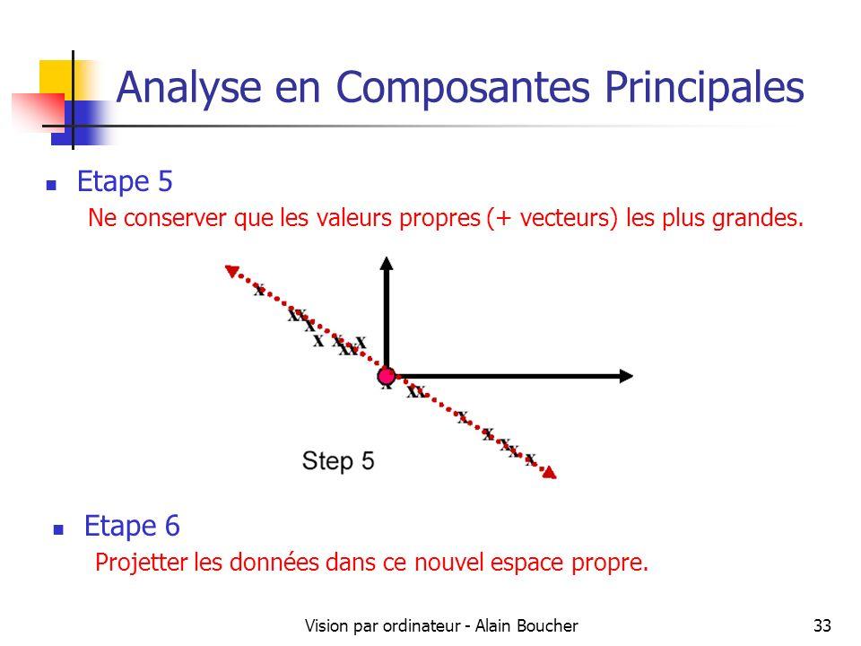 Vision par ordinateur - Alain Boucher33 Analyse en Composantes Principales Etape 5 Ne conserver que les valeurs propres (+ vecteurs) les plus grandes.