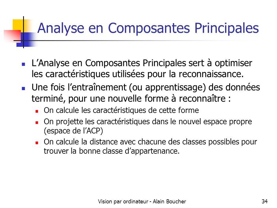 Vision par ordinateur - Alain Boucher34 Analyse en Composantes Principales LAnalyse en Composantes Principales sert à optimiser les caractéristiques u