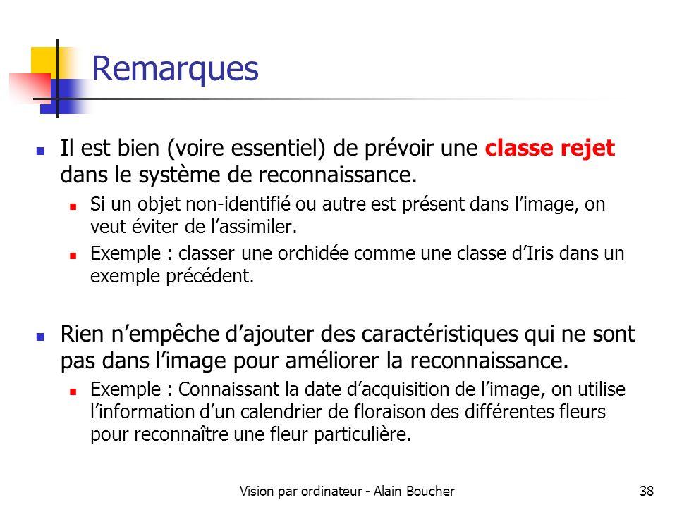 Vision par ordinateur - Alain Boucher38 Remarques Il est bien (voire essentiel) de prévoir une classe rejet dans le système de reconnaissance. Si un o