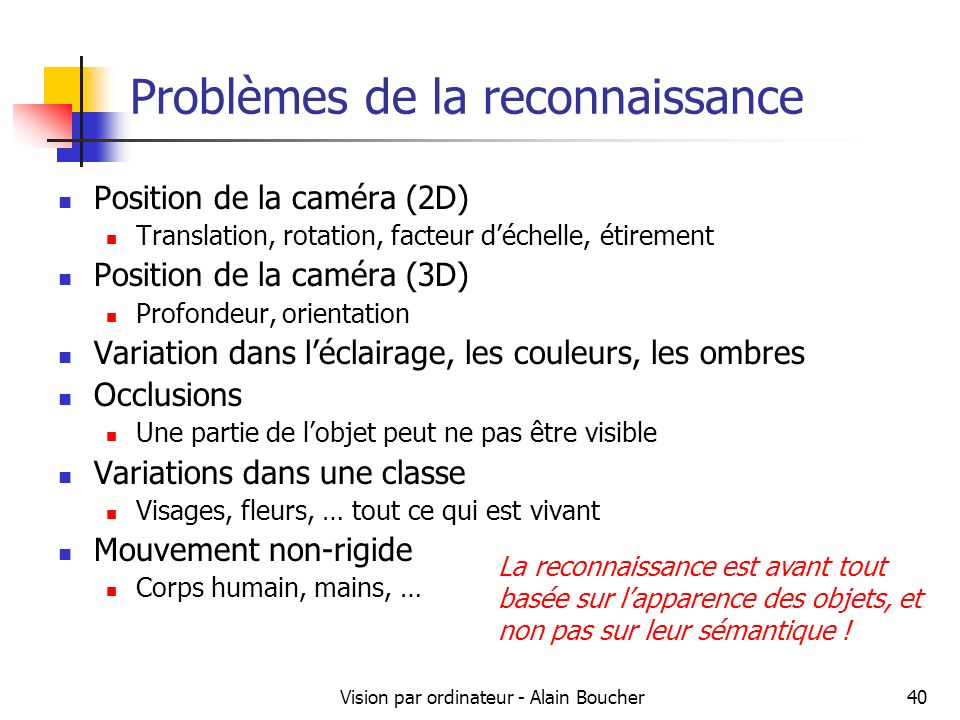 Vision par ordinateur - Alain Boucher40 Problèmes de la reconnaissance Position de la caméra (2D) Translation, rotation, facteur déchelle, étirement P