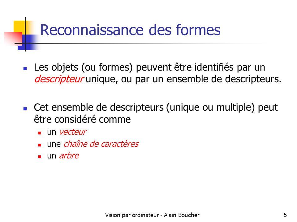 Vision par ordinateur - Alain Boucher5 Reconnaissance des formes Les objets (ou formes) peuvent être identifiés par un descripteur unique, ou par un e