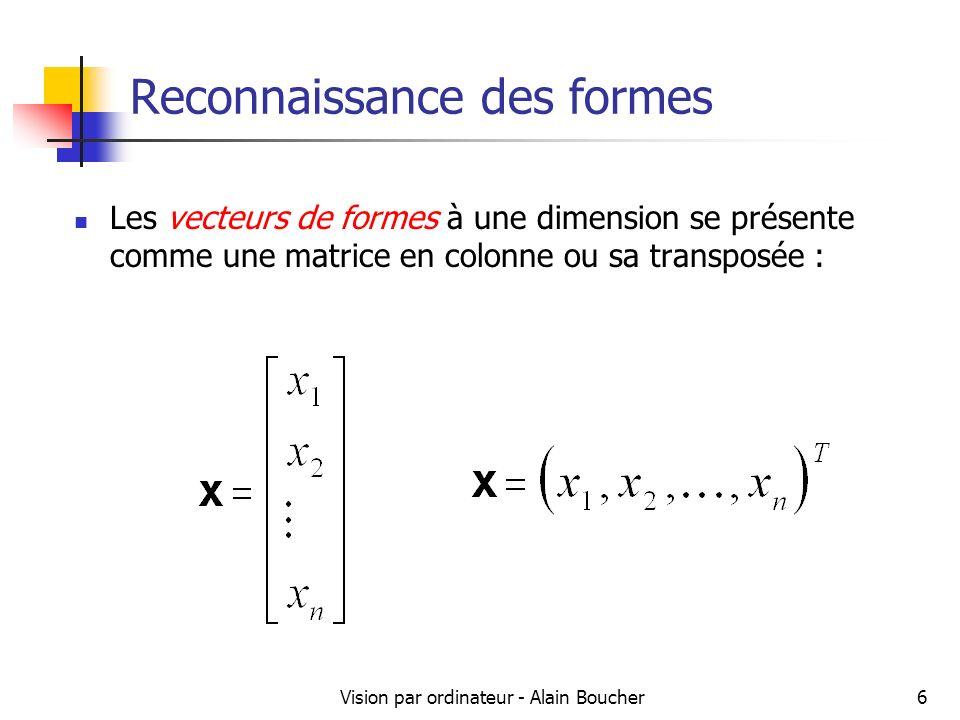 Vision par ordinateur - Alain Boucher7 Reconnaissance des formes Plusieurs formes peuvent partager des descripteurs communs Une classe de formes peut être définie pour permettre le regroupement de ces formes aux caractéristiques communes Les classes de formes sont dénotées par 1, 2, …, W où W est le nombre total de classes