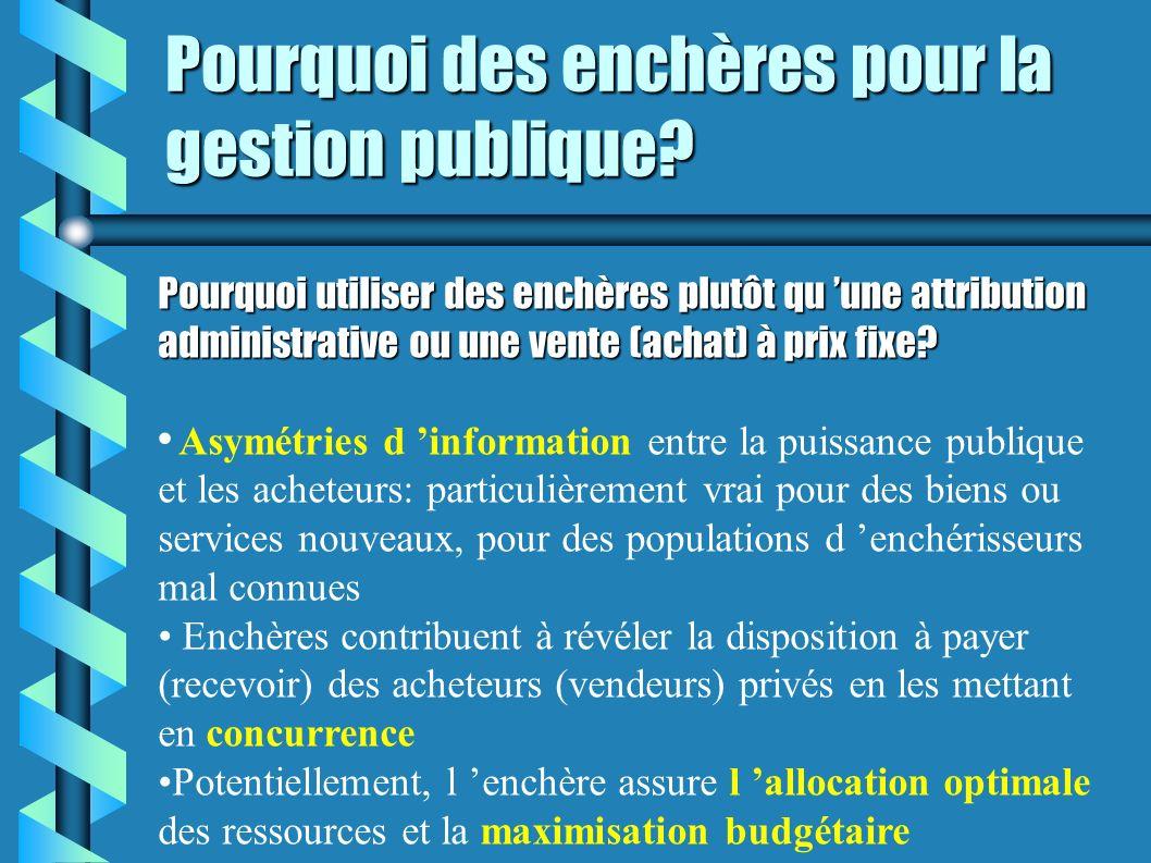 Pourquoi des enchères pour la gestion publique? Pourquoi utiliser des enchères plutôt qu une attribution administrative ou une vente (achat) à prix fi