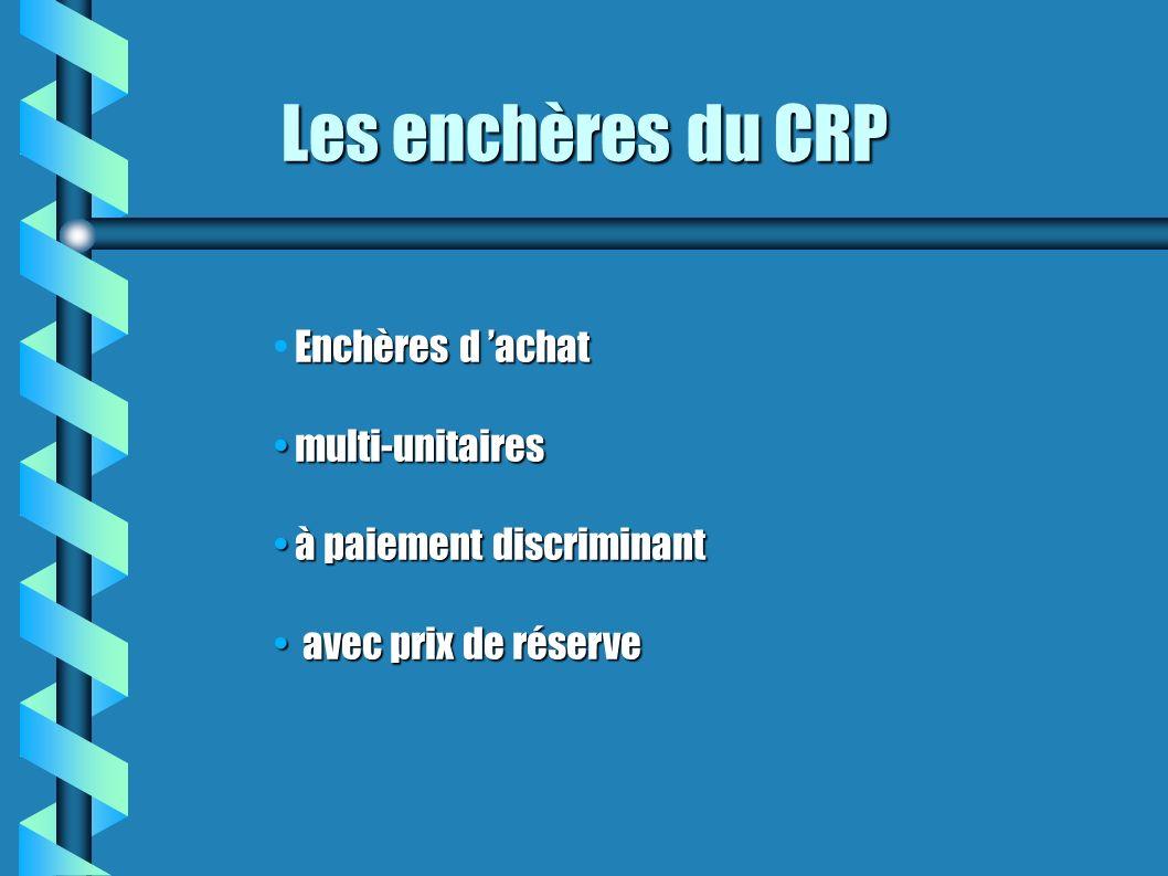 Les enchères du CRP Enchères d achat multi-unitaires multi-unitaires à paiement discriminant à paiement discriminant avec prix de réserve avec prix de