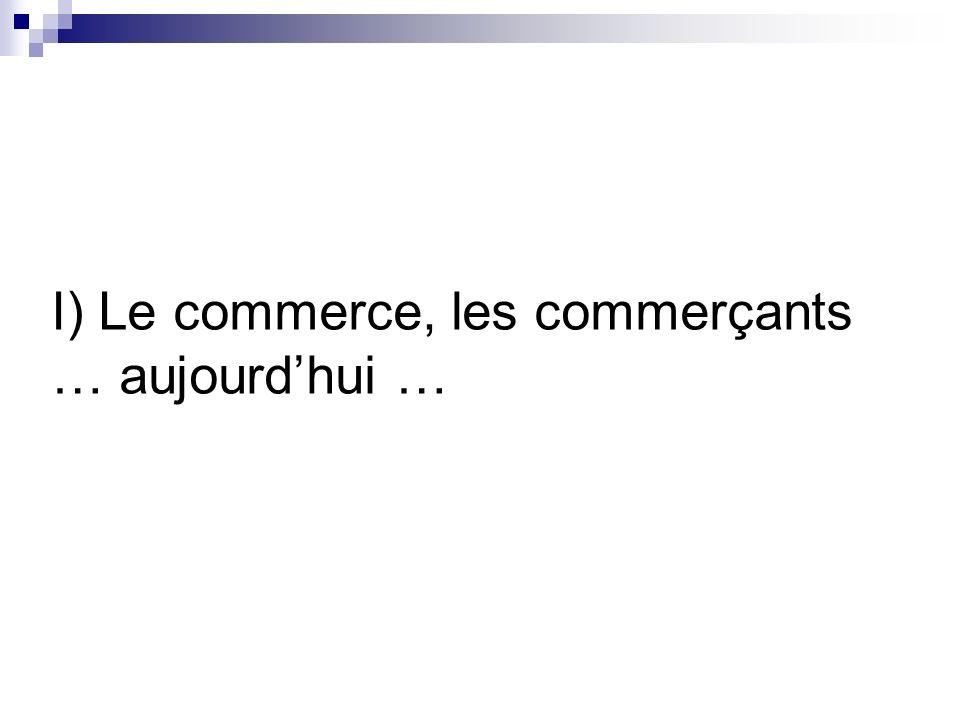 I) Le commerce, les commerçants … aujourdhui …
