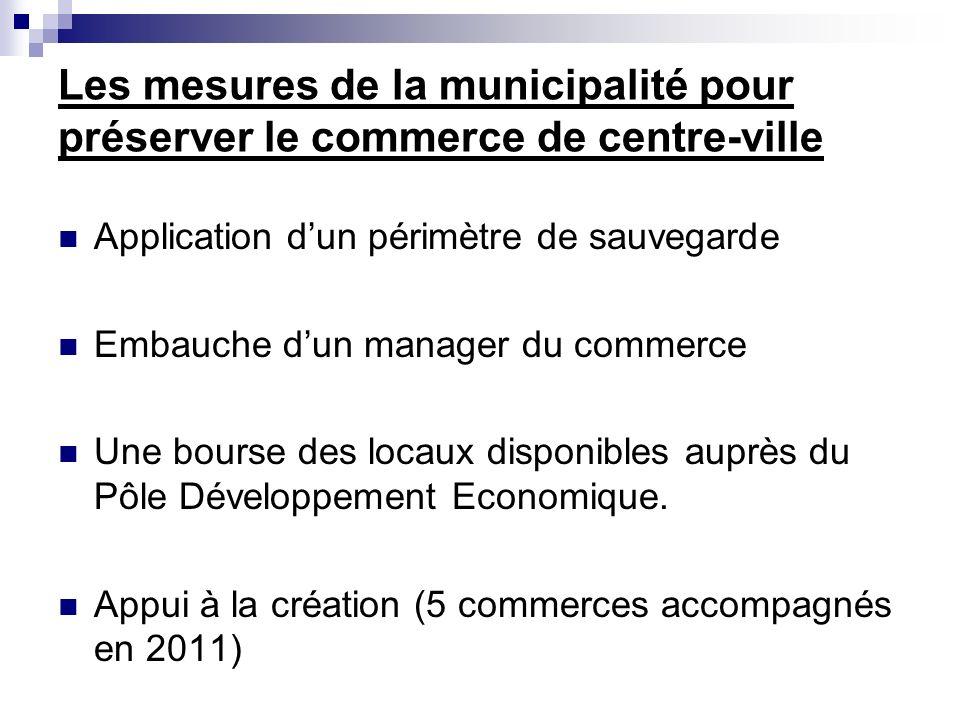 Les mesures de la municipalité pour préserver le commerce de centre-ville Application dun périmètre de sauvegarde Embauche dun manager du commerce Une bourse des locaux disponibles auprès du Pôle Développement Economique.